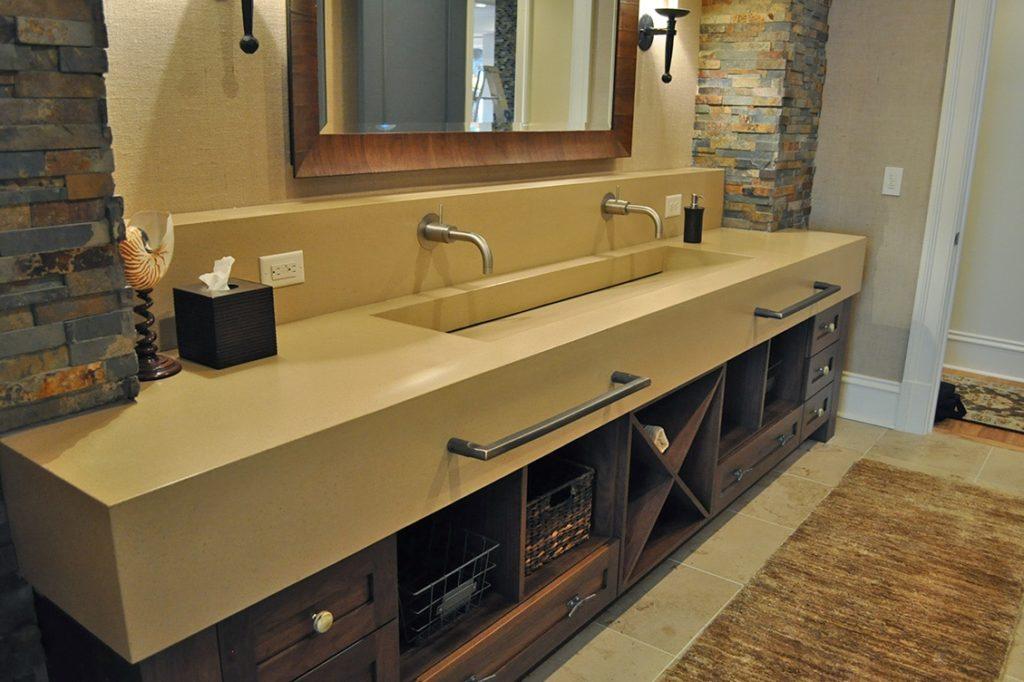 Bathroom Integral Sink Concrete Counter top